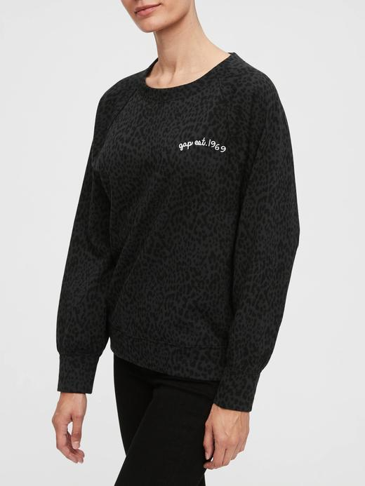 Kadın Siyah Desenli Yuvarlak Yaka Sweatshirt