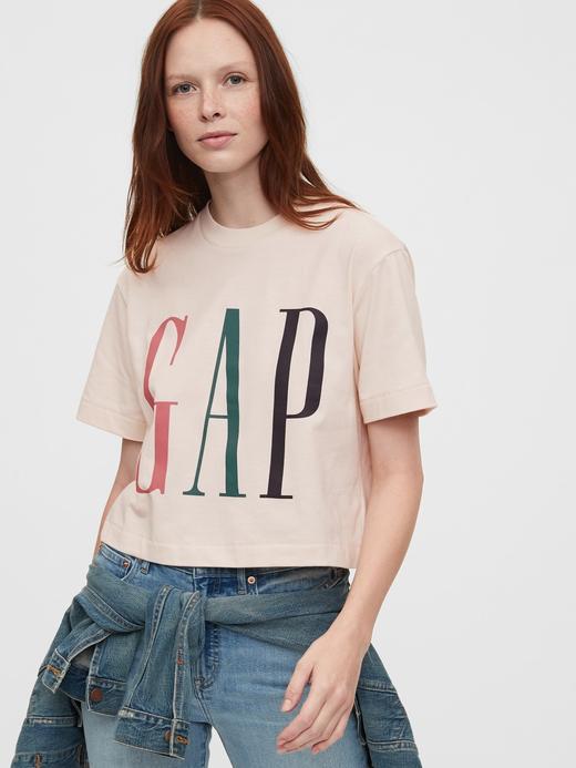 Kadın Pembe Gap Logo Cropped T-Shirt
