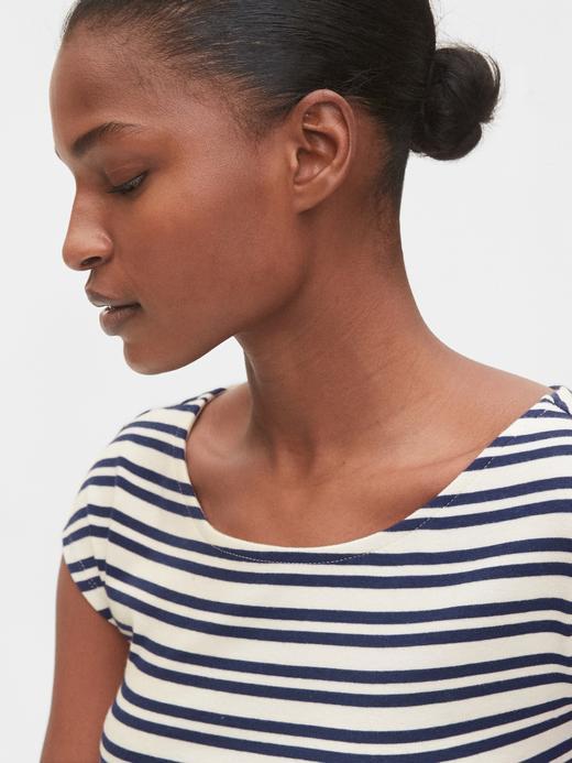 Kadın Çok renkli Kayık Yaka Çizgili T-Shirt