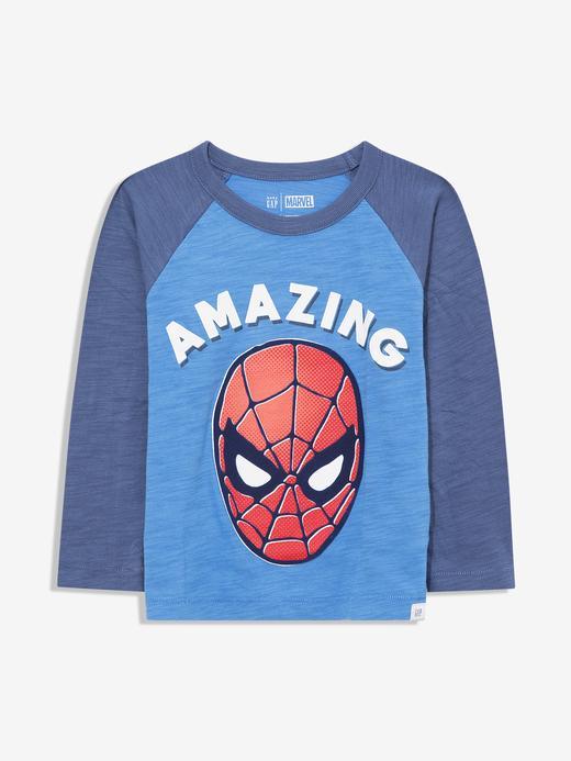 Erkek Bebek Mavi Marvel™ Grafik Uzun Kollu T-Shirt