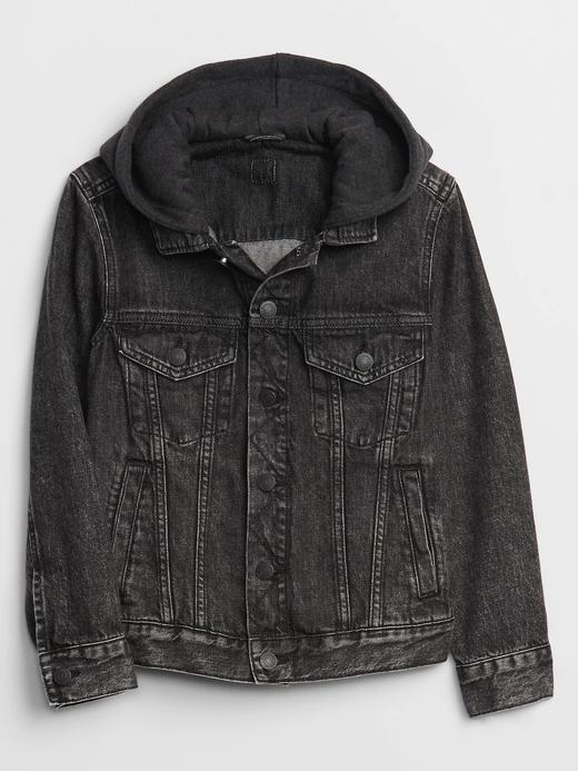 Erkek Çocuk Siyah Kapüşonlu Denim Ceket
