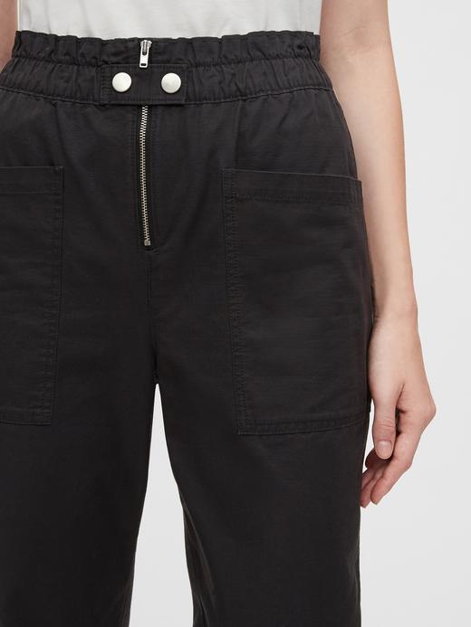 Kadın Siyah High Rise Utility Cargo Jogger Pantolon