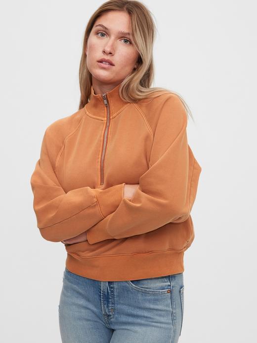 Kadın Bej Yarım Fermuarlı Sweatshirt