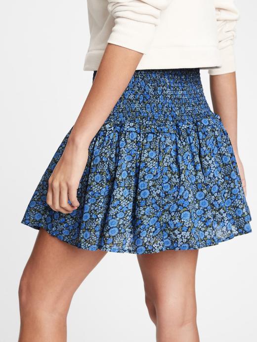 Kadın Mavi Çiçek Desenli Mini Etek
