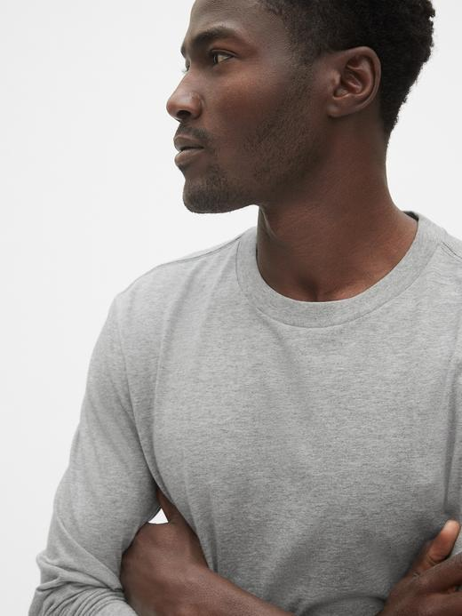 Erkek Gri Classic Uzun Kollu T-Shirt