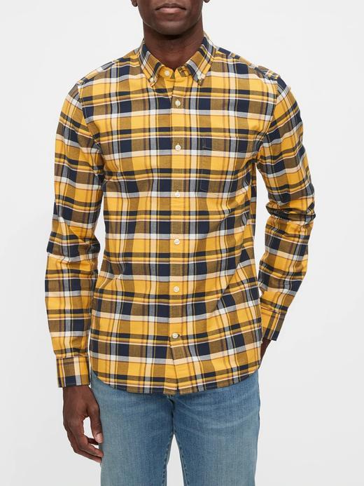 Erkek Sarı Ekose Oxford Slim Fit Gömlek