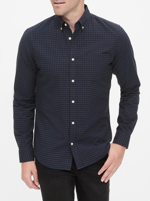Erkek Lacivert Ekose Oxford Slim Fit Gömlek
