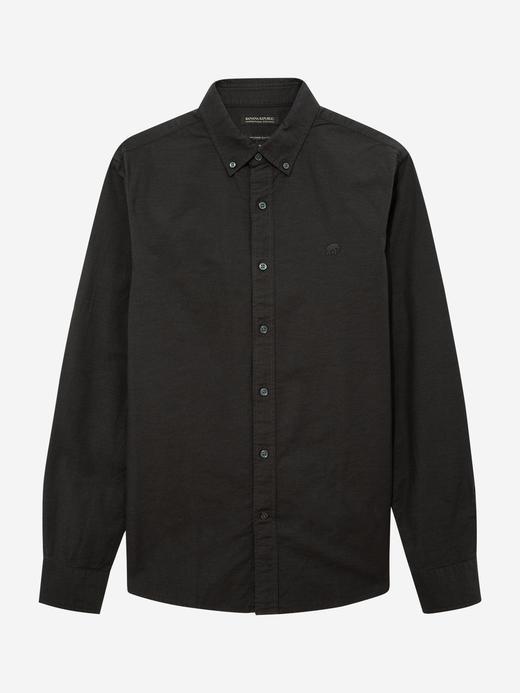 Erkek Gri Untucked Fit Oxford Gömlek