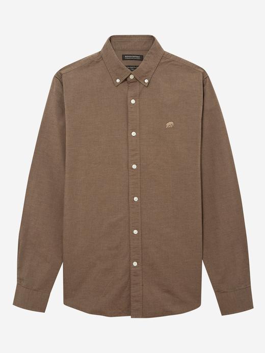 Erkek Kahverengi Untucked Fit Oxford Gömlek