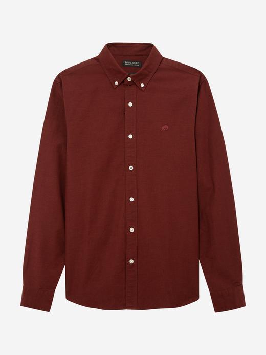 Erkek Kırmızı Untucked Fit Oxford Gömlek