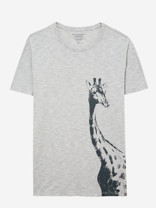 Erkek Gri Zürafa Desenli Kısa Kollu T-Shirt