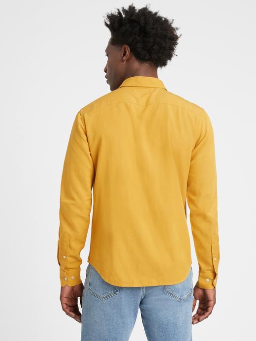 Erkek Sarı LENZING™ ECOVERO™ Untucked Slim-Fit Gömlek