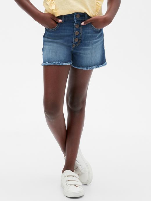 Kız Çocuk Mavi High Rise Denim Şort