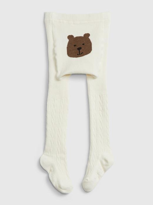 Bebek Beyaz Ayıcık Detaylı Külotlu Çorap