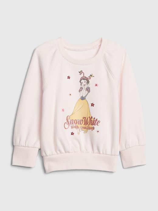 Kız Bebek Pembe Disney Grafik Yuvarlak Yaka Sweatshirt