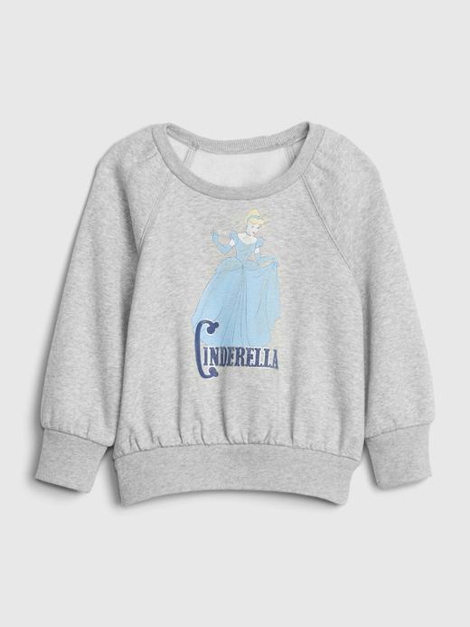 Kız Bebek Gri Disney Grafik Yuvarlak Yaka Sweatshirt