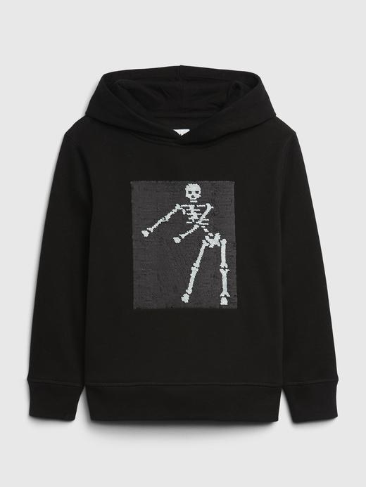 Erkek Çocuk Siyah Değişen Pullu Kapüşonlu Sweatshirt