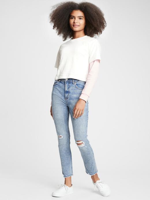 Genç Kız Mavi Genç Kız | Teen High Rise Slim Ankle Jean Pantolon