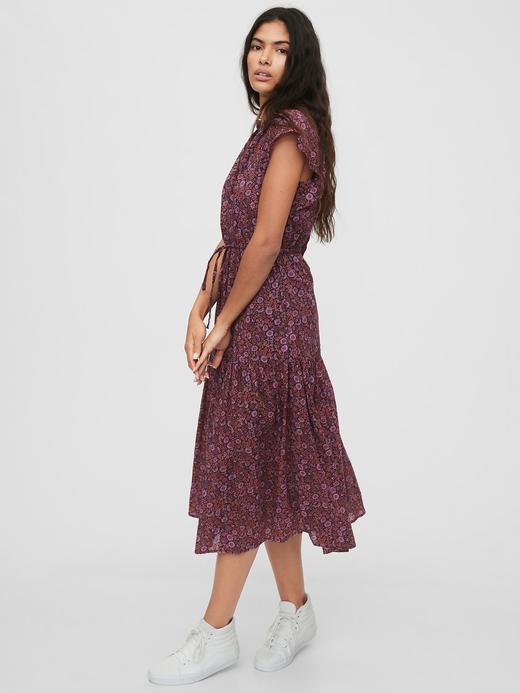 Kadın Pembe Desenli Midi Elbise