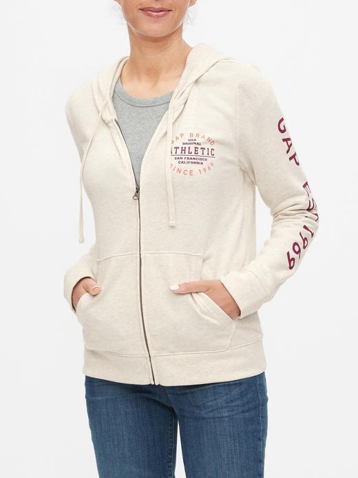 Kadın Bej Gap Logo Kapüşonlu Sweatshirt