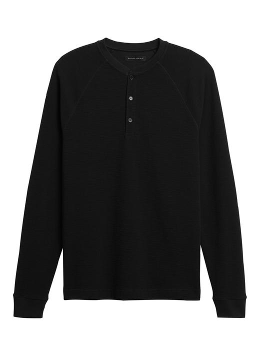 Erkek Siyah Henley Yaka Sweatshirt