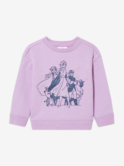 Kız Bebek Pembe Disney Frozen Yuvarlak Yaka Sweatshirt