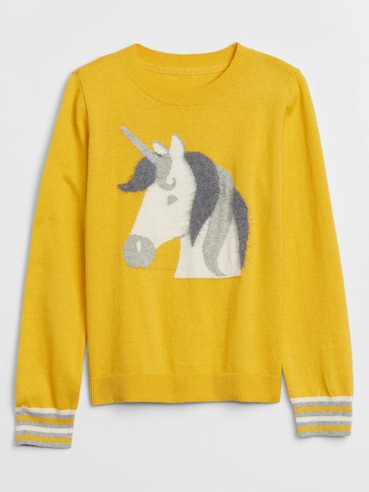 Kız Çocuk Sarı Unicorn Desenli Kazak