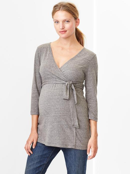 Gri Maternity V Yaka Emzirme Bluzu
