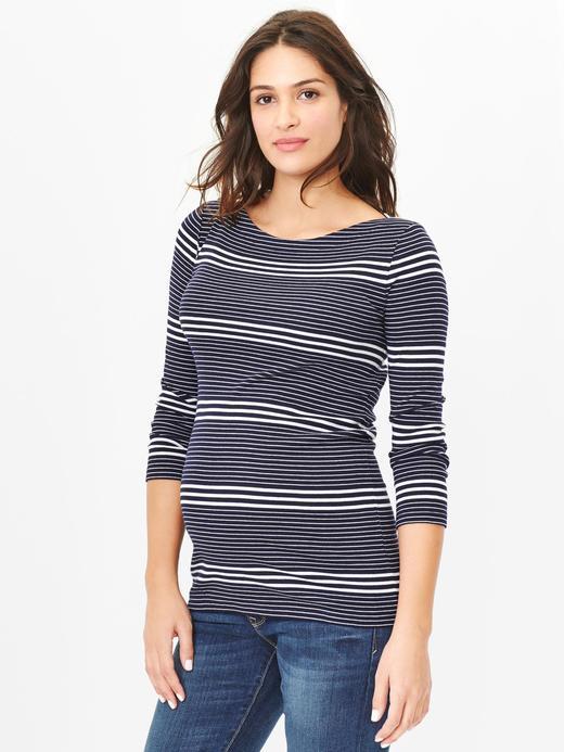 Lacivert Maternity Uzun Kollu T-Shirt