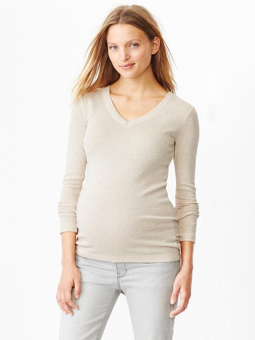 Bej Maternity V Yaka T-Shirt