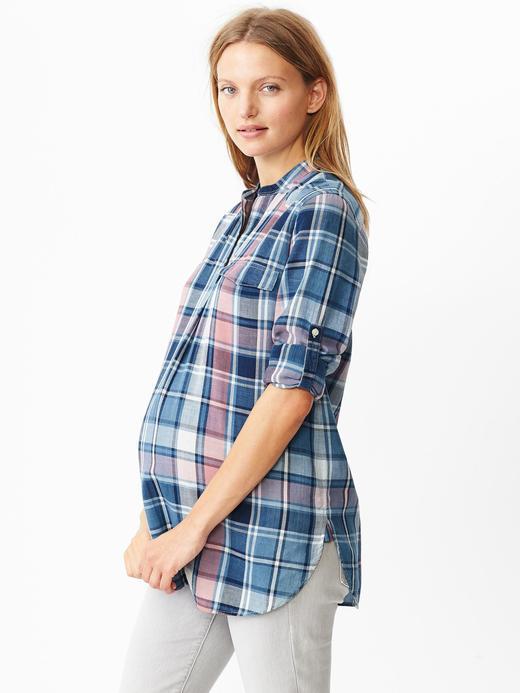 Mavi Maternity Ekose Gömlek