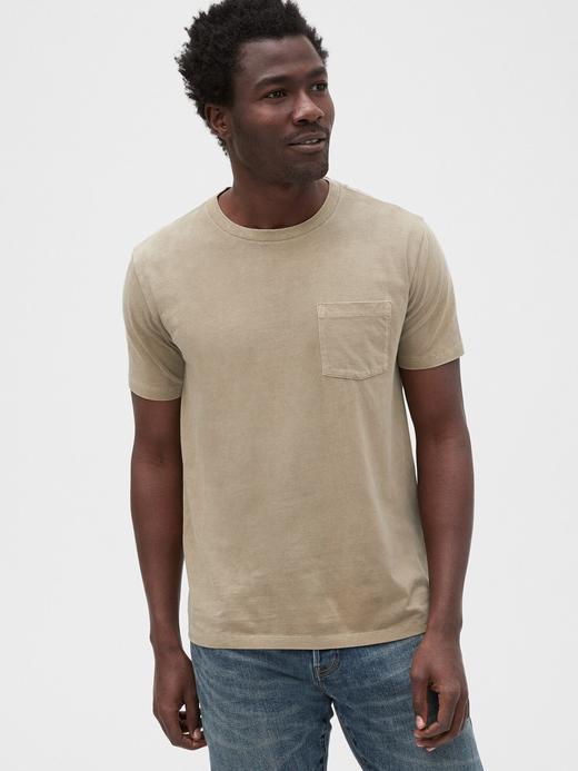 Erkek Bej Vintage Cepli T-Shirt