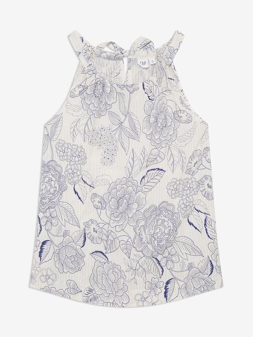 Kadın Beyaz Desenli Kolsuz Bluz