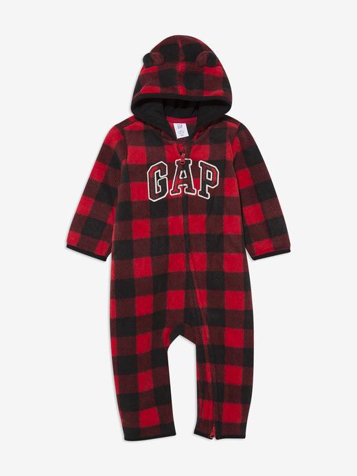 Erkek Bebek Kırmızı Gap Logo Kapüşonlu Tulum