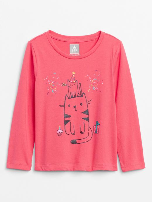 Kız Bebek Pembe Uzun Kollu Grafik T-Shirt