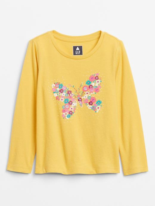 Kız Bebek Sarı Uzun Kollu Grafik T-Shirt