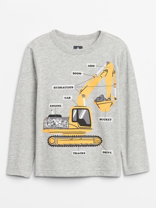 Erkek Bebek Gri Grafik Uzun Kollu T-Shirt
