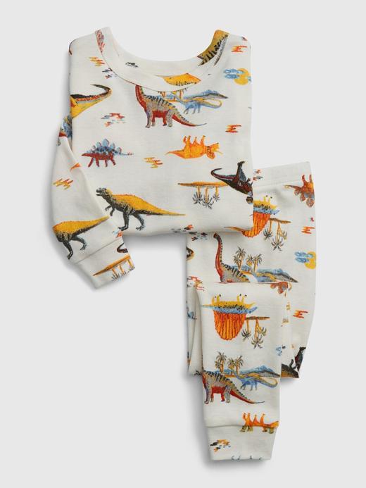 Erkek Bebek Beyaz Dinozor Desenli Pijama Takımı