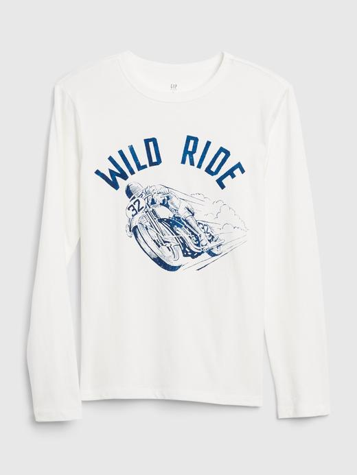 Erkek Çocuk Beyaz Uzun Kollu Grafik T-Shirt