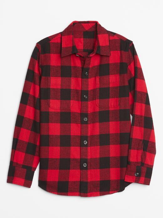 Erkek Çocuk Kırmızı Uzun Kollu Ekose Gömlek
