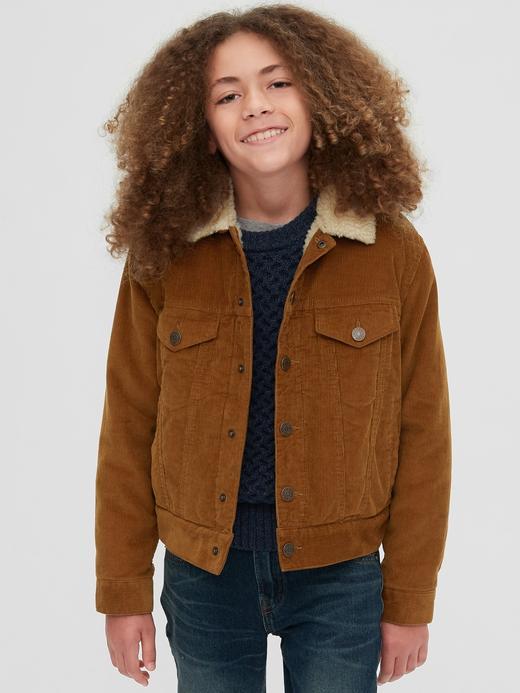 Erkek Çocuk Kahverengi Sherpa Astarlı Ceket