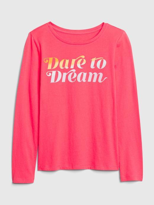 Kız Çocuk Pembe Uzun Kollu Grafik T-Shirt