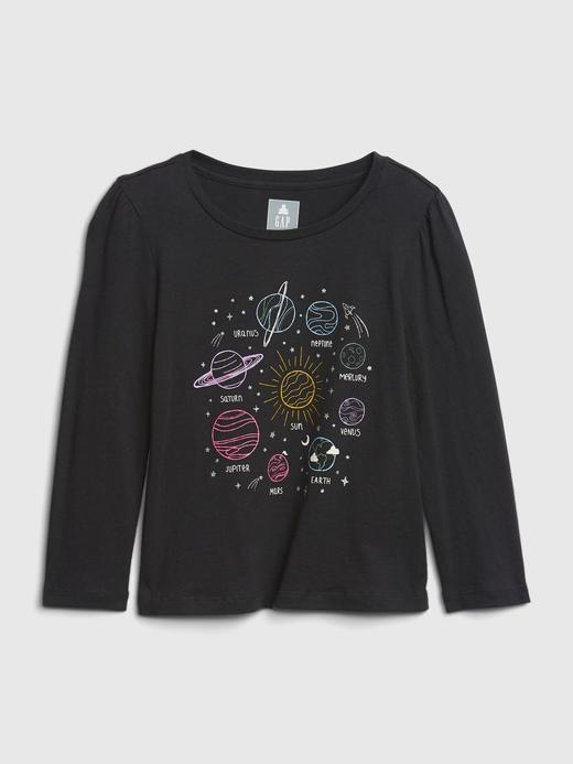 Kız Bebek Lacivert Uzun Kollu Grafik T-Shirt