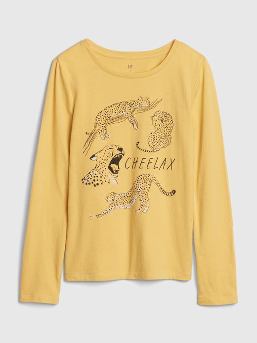 Kız Çocuk Sarı Uzun Kollu Grafik T-Shirt