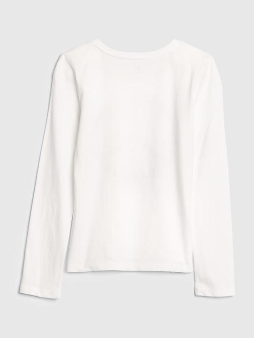 Kız Çocuk Beyaz Uzun Kollu Grafik T-Shirt