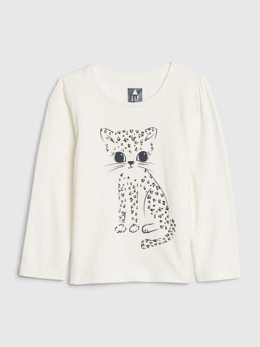 Kız Bebek Beyaz Uzun Kollu Grafik T-Shirt