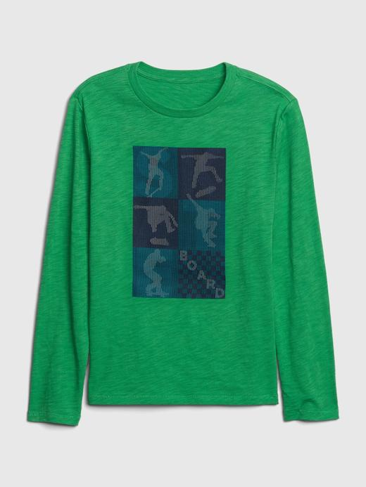 Erkek Çocuk Yeşil Grafik Uzun Kollu T-Shirt