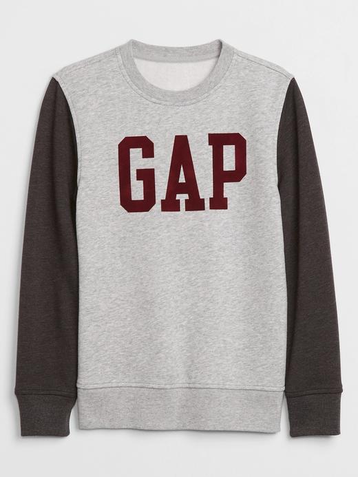 Erkek Çocuk Gri Gap Logo Yuvarlak Yaka Sweatshirt