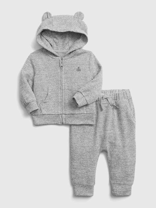 Erkek Bebek Gri Softspun Sweatshirt ve Eşofman Altı Takımı