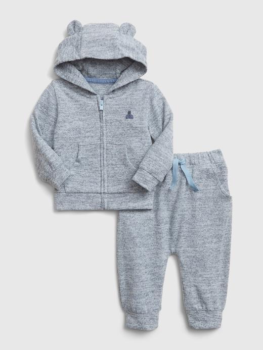 Erkek Bebek Mavi Softspun Sweatshirt ve Eşofman Altı Takımı
